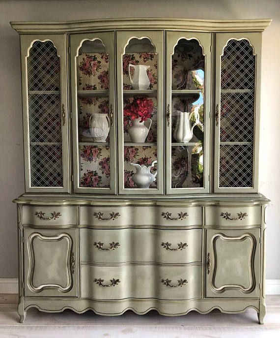 Upcycled Shabby Chic Furniture China, French Country China Cabinet