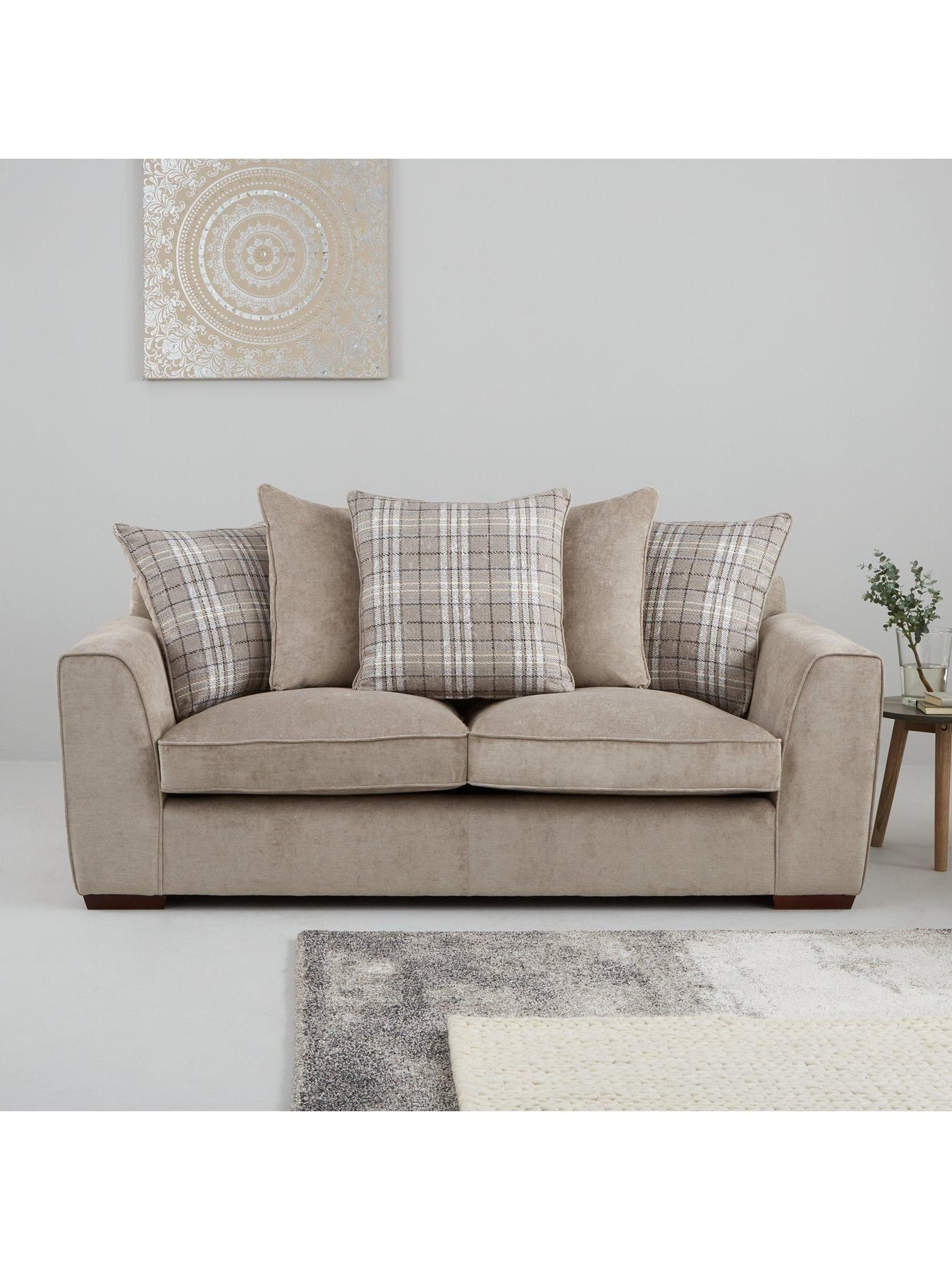 Campbell Fabric 3 Seater 2 Seater Scatter Back Sofa Set Buy And Save Taupe Sofa Set Grey Sofa Set Sofa