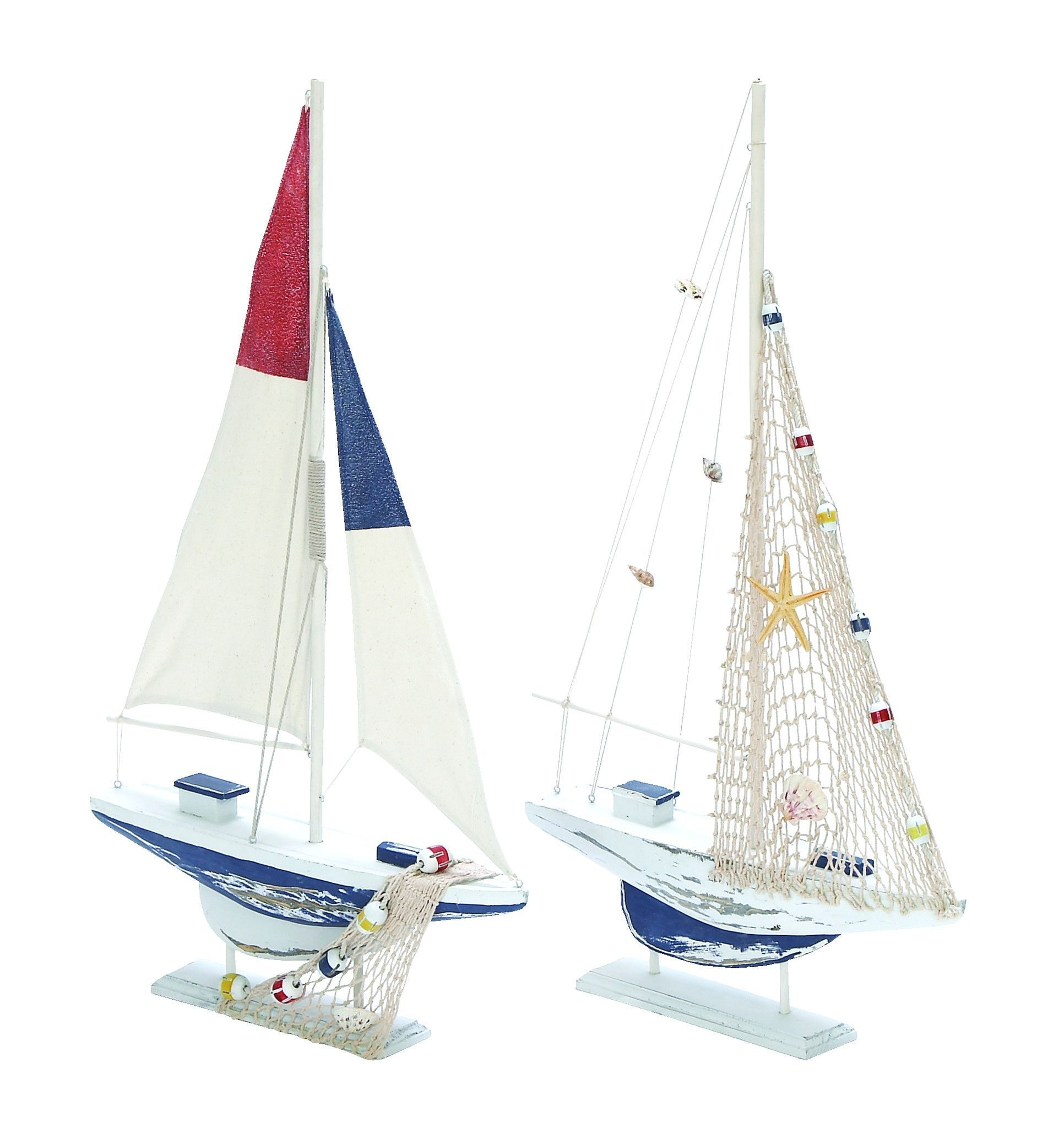 Assorted Wooden Sailing Boat In Red And Blue Finish - Set Of 2