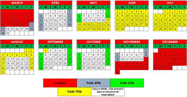 Santa's Stables 2014 Operating Schedule April may, Just