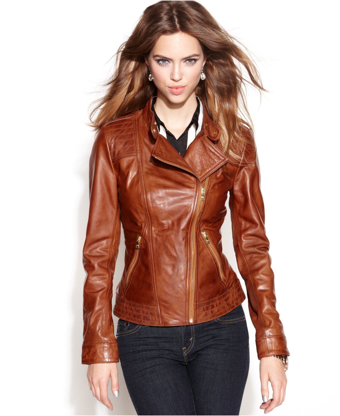 GUESS Asymmetrical Zip-Front Leather Jacket - Jackets U0026 Blazers - Women - Macyu0026#39;s | Fashion ...