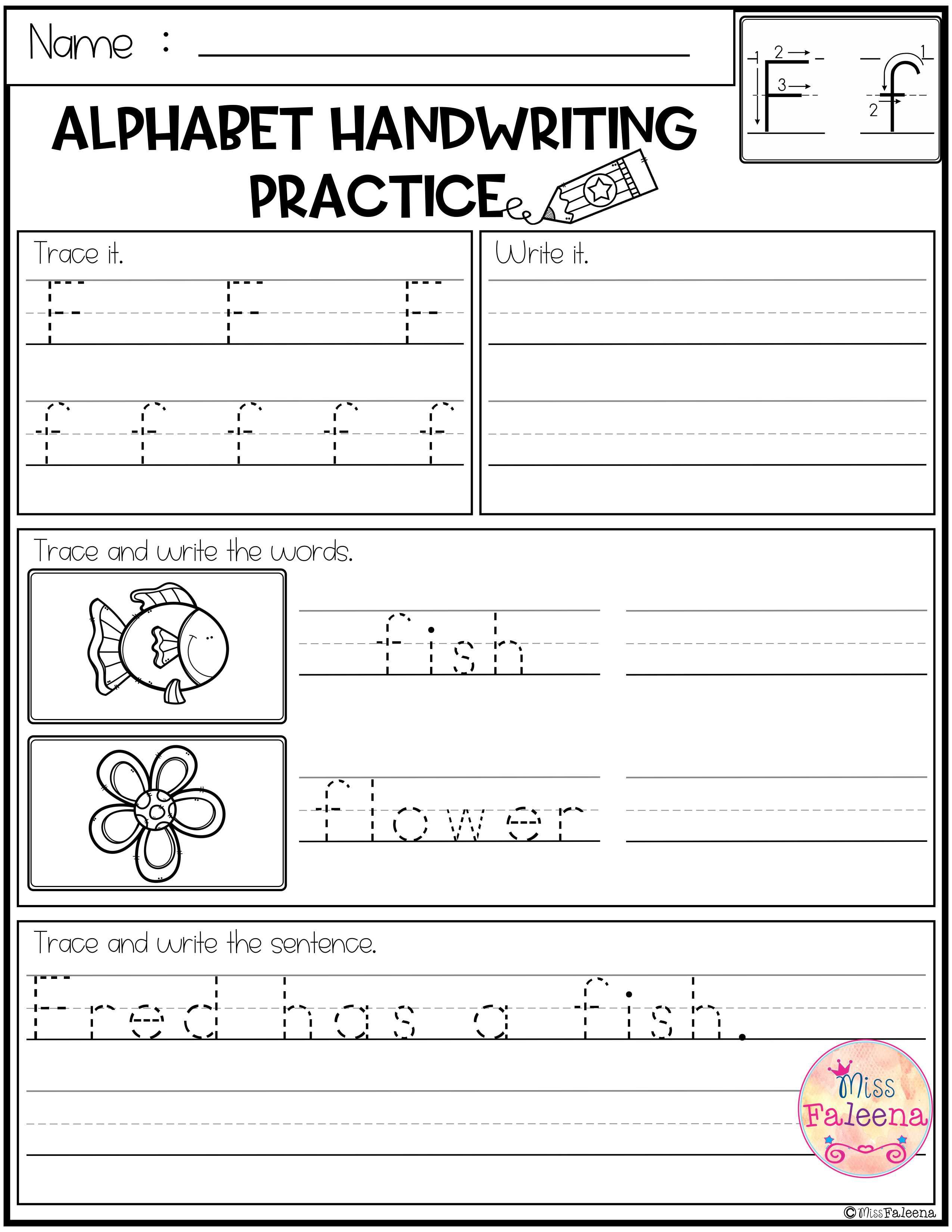 Free Alphabet Letters Handwriting Practice