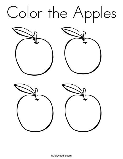Color the Apples Coloring Page from TwistyNoodle.com
