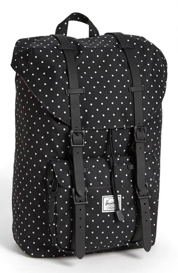 polka dot black & white herschel supply co backpack | summer look