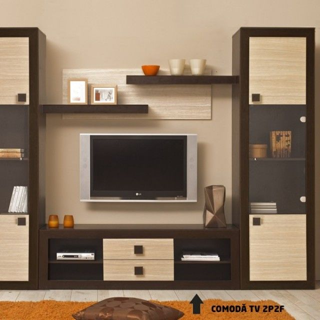 Dedeman Sistem Living Tramonto Comoda Tv Tp2f Wenge Ferrara Mobila