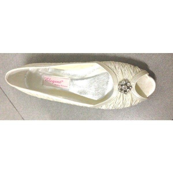 White Satin Upper Flats Women's Wedding Bridal Evening Party Shoes found on Polyvore