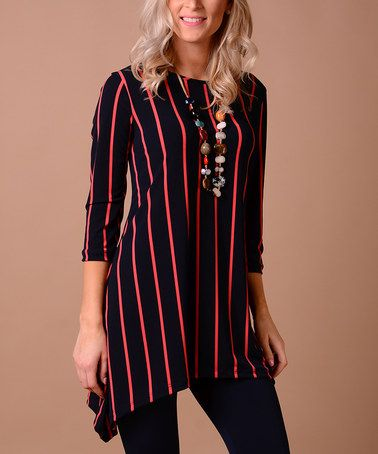 This Watermelon & Navy Vertical Stripe Sidetail Tunic is perfect! #zulilyfinds