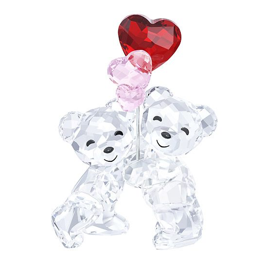 Symbolizing Togetherness And Love These Two Kris Bears Are Crafted In Sparkling Clear Crystal De Swarovski Crystal Figurines Crystal Figurines Heart Balloons