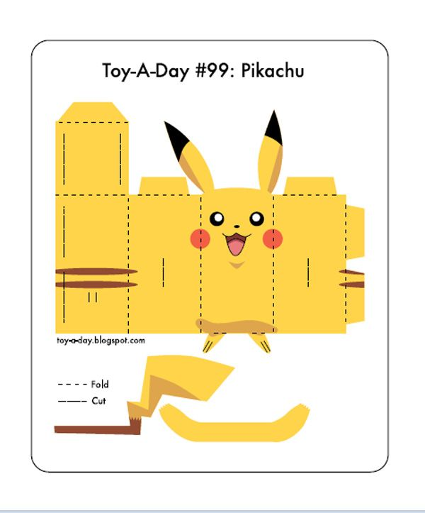 Pikachu Paper Toy Template Pikachu Pokemon  Crafts