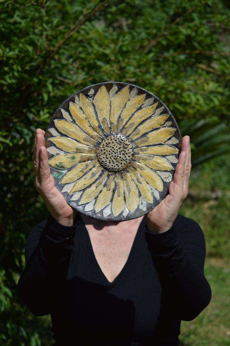 Come Appendere Piatti In Ceramica set girasoli 3 piatti decorativi da appendere,ceramica raku