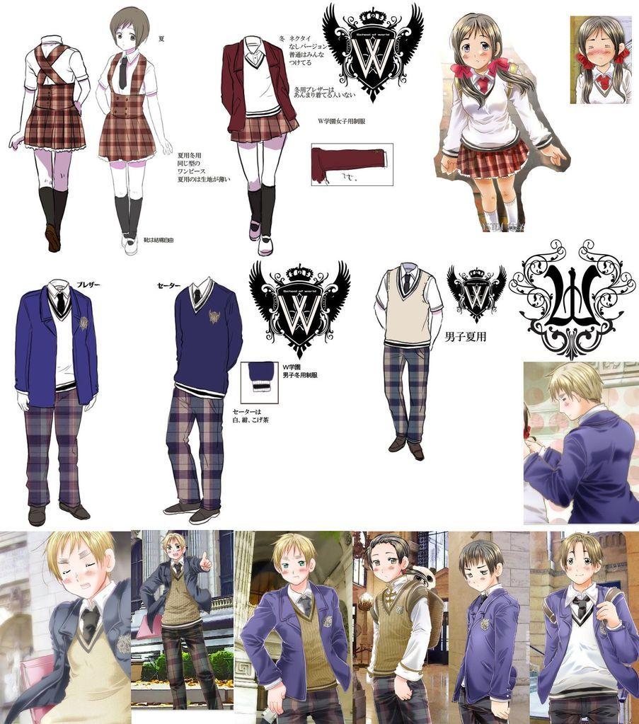Gakuen Hetalia Uniforms