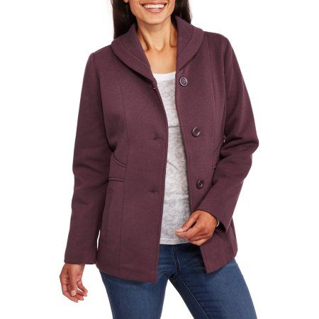 1ff873912 Climate Concepts Women's Soft & Cozy Fleece Jacket with Shawl Collar ...