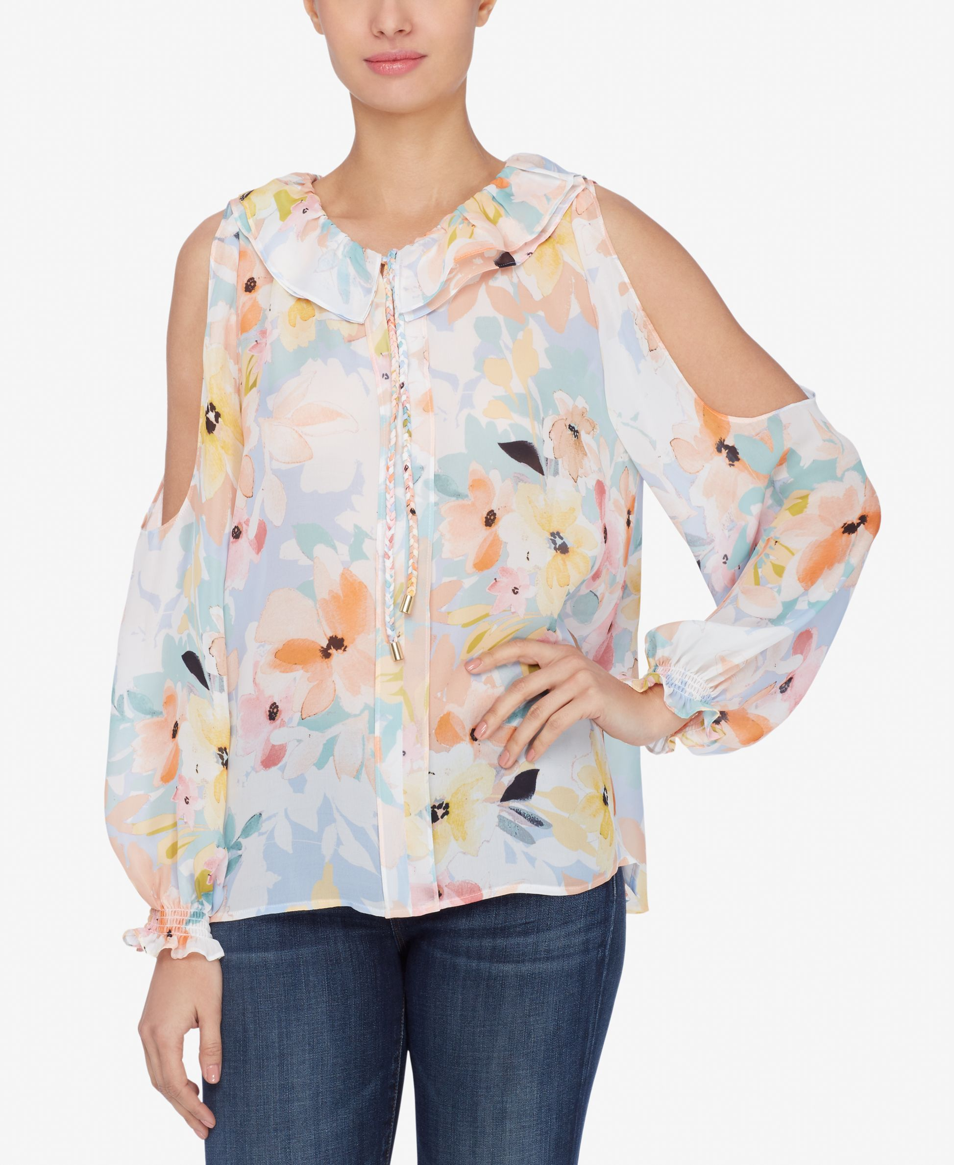 Catherines Red Floral Blouse Womens 1X S//S Poly//Span Button Up Casual Shirt NEW