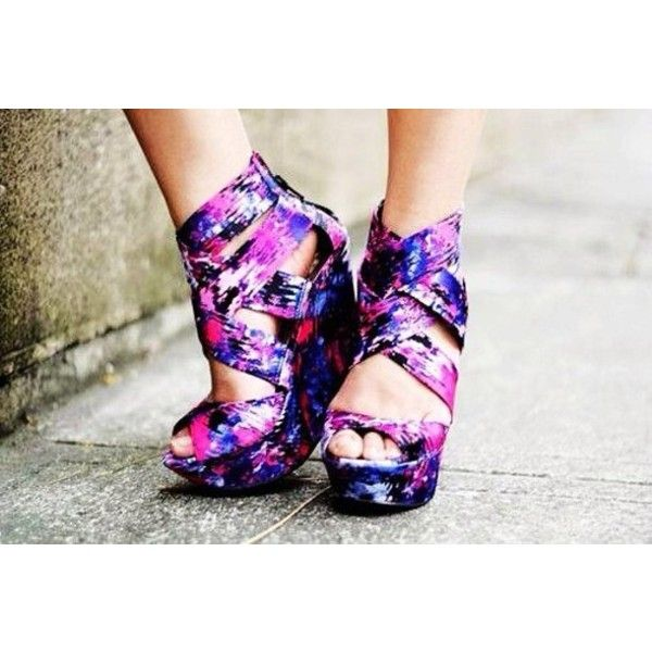 shoes floral wedges purple galaxy print high heels liked