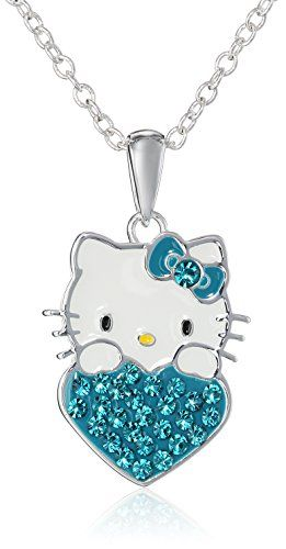 674c6471a Hello Kitty Girls December Crystal Birthstone Heart Pendant Necklace, 18