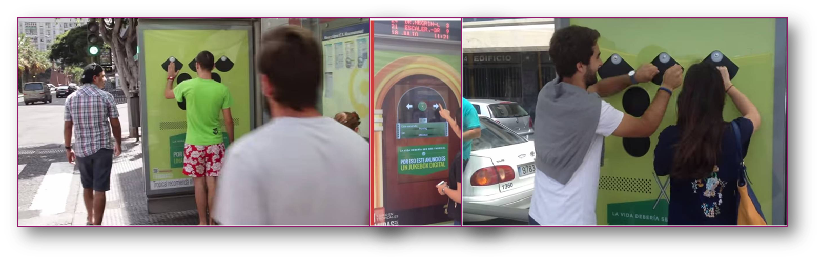 July 2014. Tropical, the Gran Canarian brewed beer brought fun to residents in Gran Canaria urging them to see the tropical side of life. Interactive shelters invited passersby to use the time waiting for the bus and make it fun and entertaining. One shelter was transformed in a Jukebox, complete with an interactive display where users could select from a range of songs. Another shelter was turned into an electronic drum where users created their own tune and showcased their tropical side.
