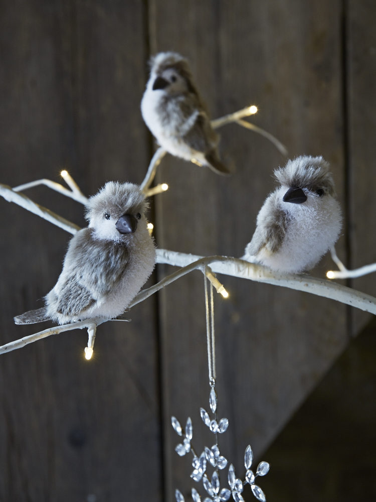 with small metal clips hidden under their feet these four fluffy birds can perch on almost anything from our birch indoor outdoor light up trees to a - Outdoor Christmas Tree Decorations For Birds