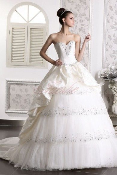 Tiered Gathered Ball Gown Strapless Tulle and Taffeta Wedding Dress with Chapel Train JSWD0020
