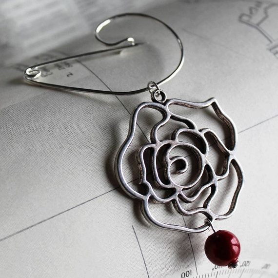 Swirl Pin With Absract Rose by zamsoe on Etsy, £22.00