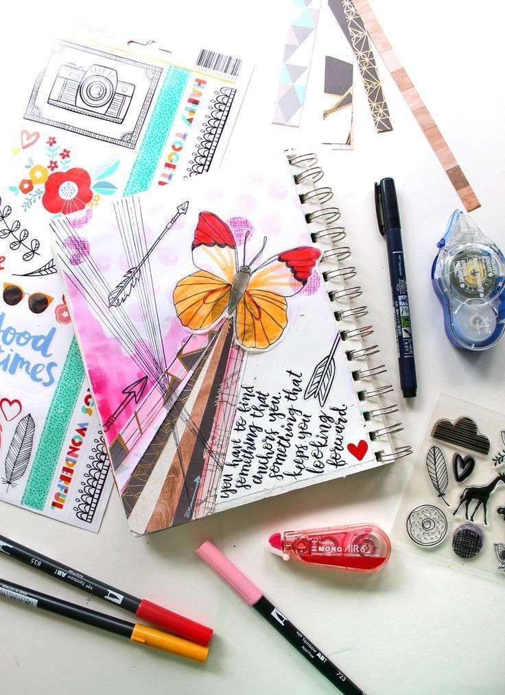 How To Art Journal With Scrapbook Supplies Journal Scrapbook And