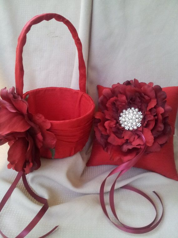 Red Peony Ring Bearer Pillow Flower Girl Basket with Accent Pearl Wedding Ring Pillow