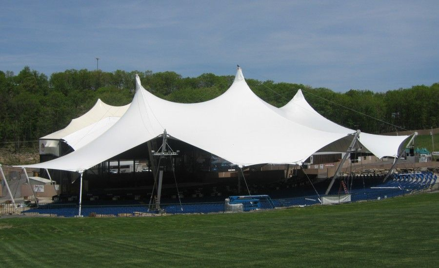 Canopy cover & PVC polyester: Canopy covering an outdoor performance space ...