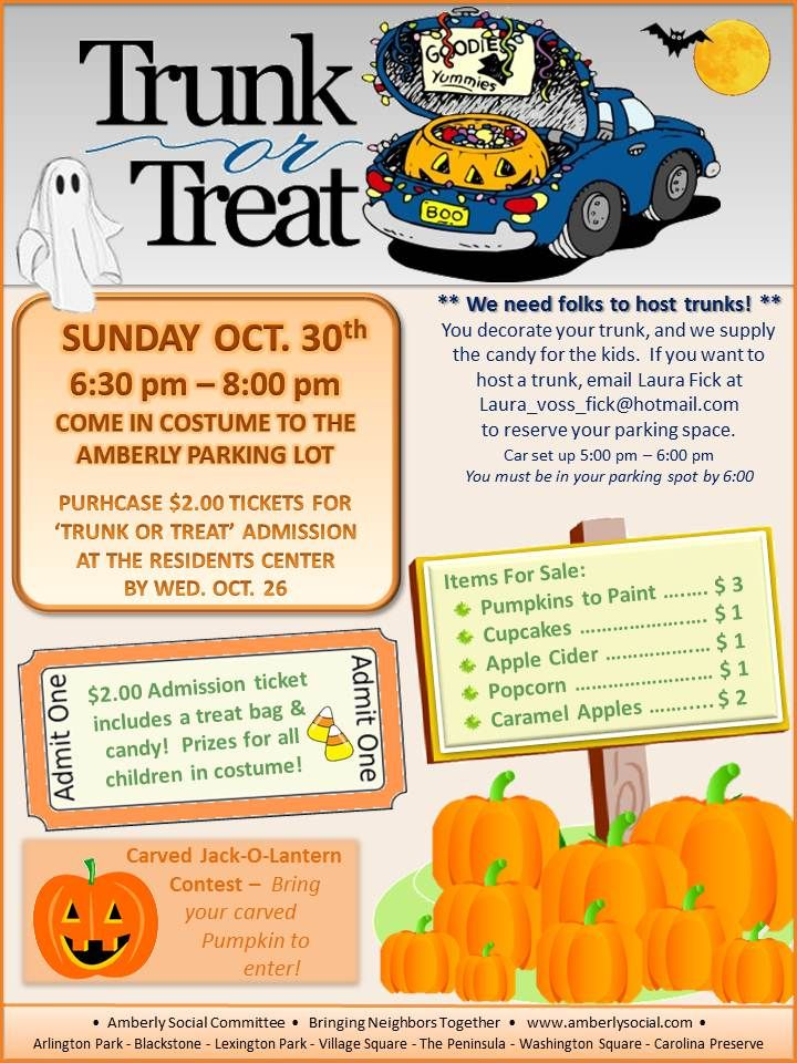 the amberly social committee invite you to come in costume and enjoy  u201ctrunk or treating u201d at the