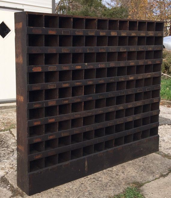 Antique Hardware Store Parts Storage Cubby Cabinet, 108 ...