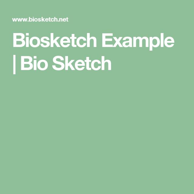 Biosketch Example | Bio Sketch | Writing Books | Writing a