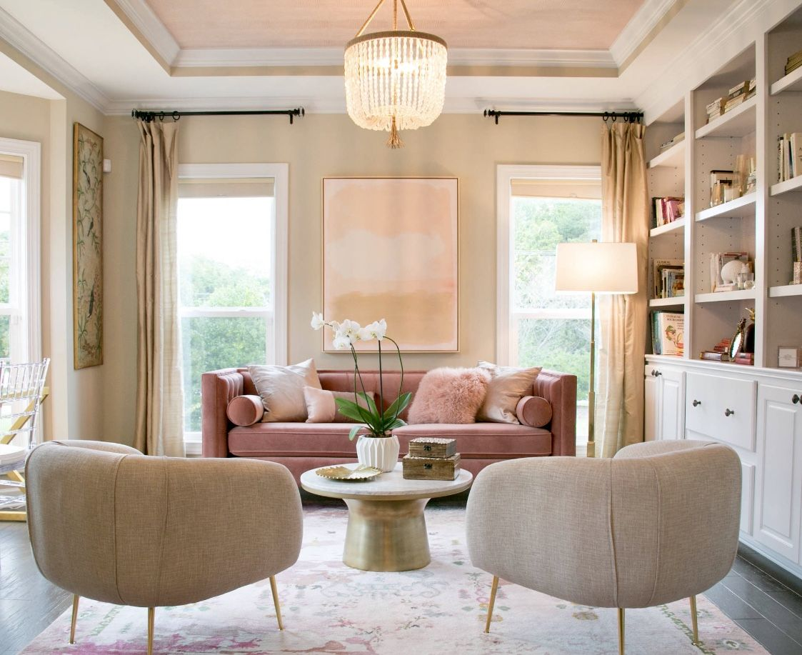 Cozy modern glamour style beige living room decor with ...
