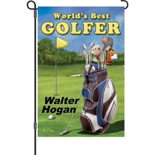 This Golf Garden Flag by Premiere Designs has embroidered accents ...