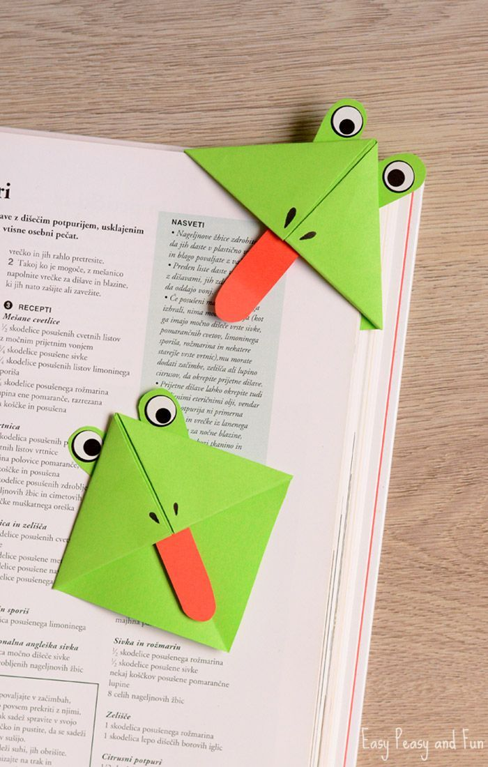 Frog corner bookmarks corner bookmarks easy peasy and for Easy bookmark ideas