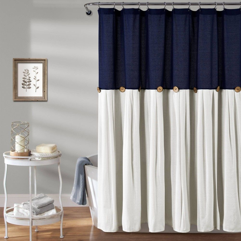 Linen Button Shower Curtain Navy Lush Decor In 2020 Lush Decor