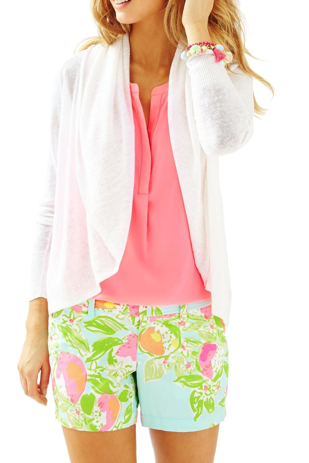 This cardigan is a linen open cardigan with shirring at the back seam. This is the ultimate summer cardigan. Sometimes you just need a light layer on a cool evening and this cardigan fits the bill.   Holden Cardigan by Lilly Pulitzer. Clothing - Sweaters - Cardigans Sandestin Golf and Beach Resort, Florida