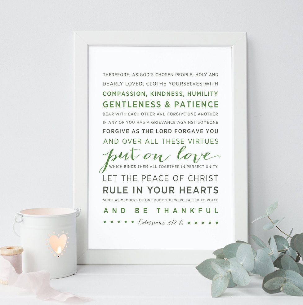 INSTANT DOWNLOAD - Colossians 3:12-15 - Scripture Print
