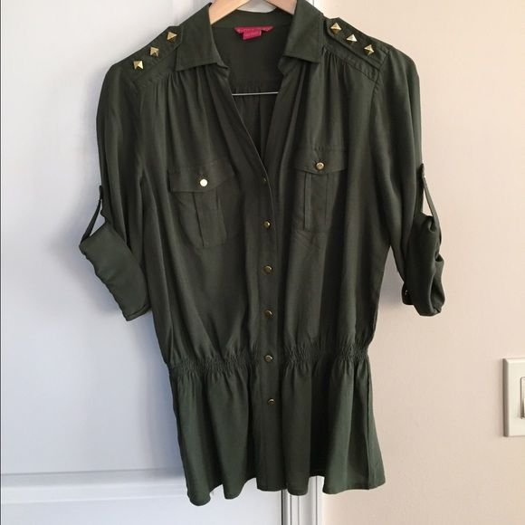 Army green blouse Cinched waist army green blouse with gold accents, new without tags Sunny Leigh Tops Blouses
