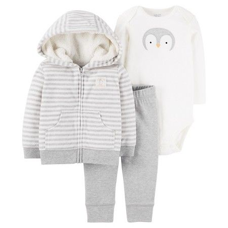 8dc78e5117aa Baby Boys  3-Piece Fleece Cardigan Set Striped Hooded Penguin - Just One You ™Made by Carter s®