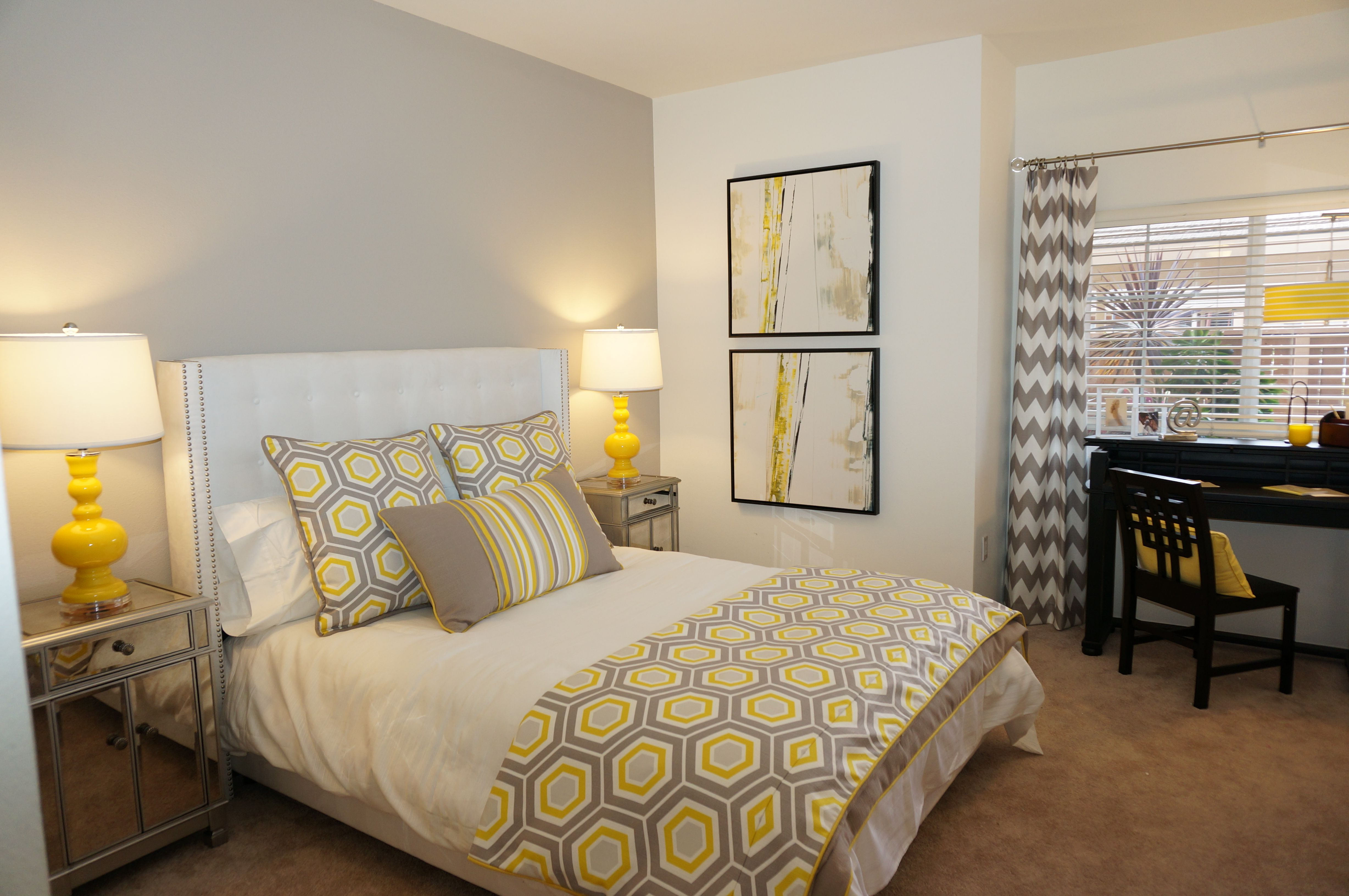 Model Apartment, grey and yellow, accent wall, white