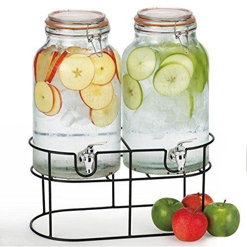Mason Jar Glass Beverage Dispenser with Wire Handle - 1 Gallon