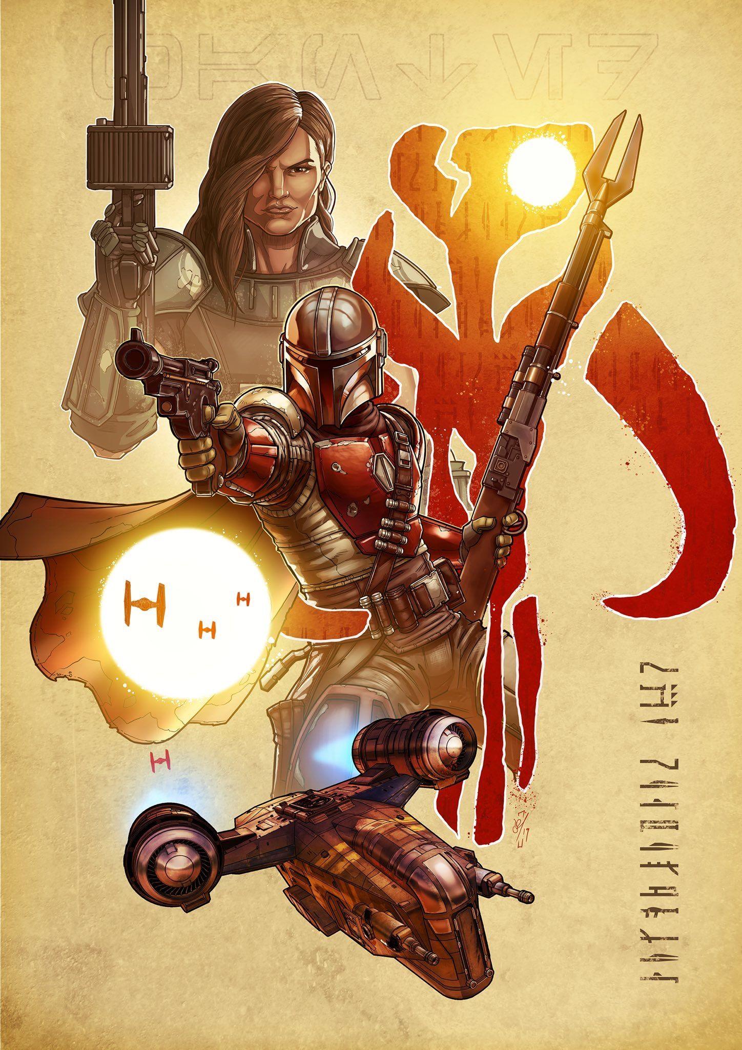 A piece of art for the mandalorian star wars art star