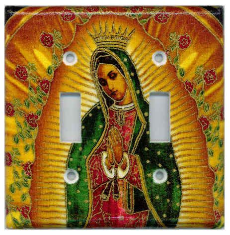 Virgen de Guadalupe / Virgin Mary Double Switch Plate Cover  by Sonia Apodaca-Harms for VistaLatina.com.