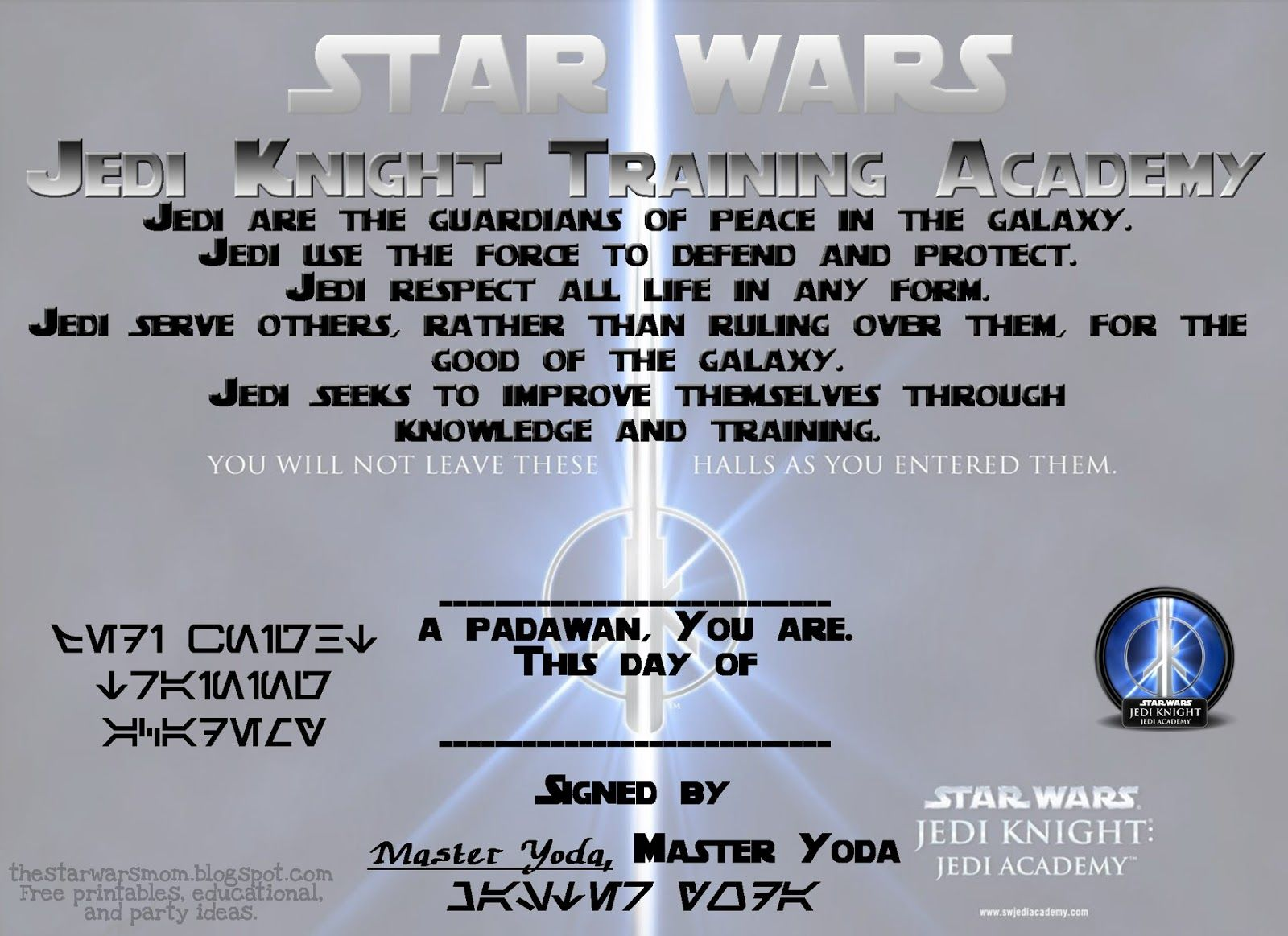 The Star Wars Mom: Star Wars   Jedi Knight Training Academy Certificate    Free Printable