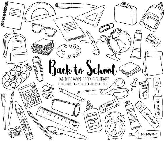 Back To School Clipart Hand Drawn Digital School Teacher Student