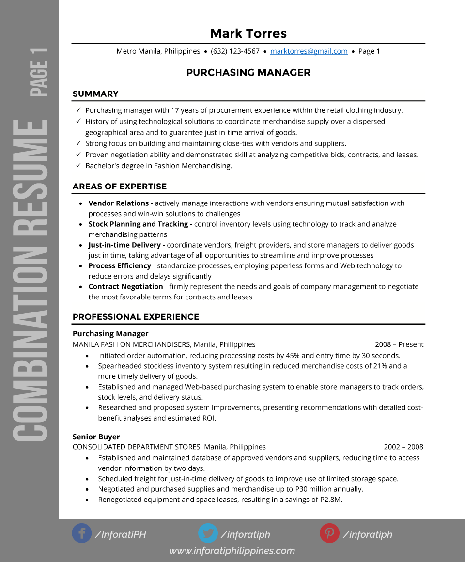What Is A Combination Resume Format Combination Resume Types By Format Page 1 Resumes Cv Resume
