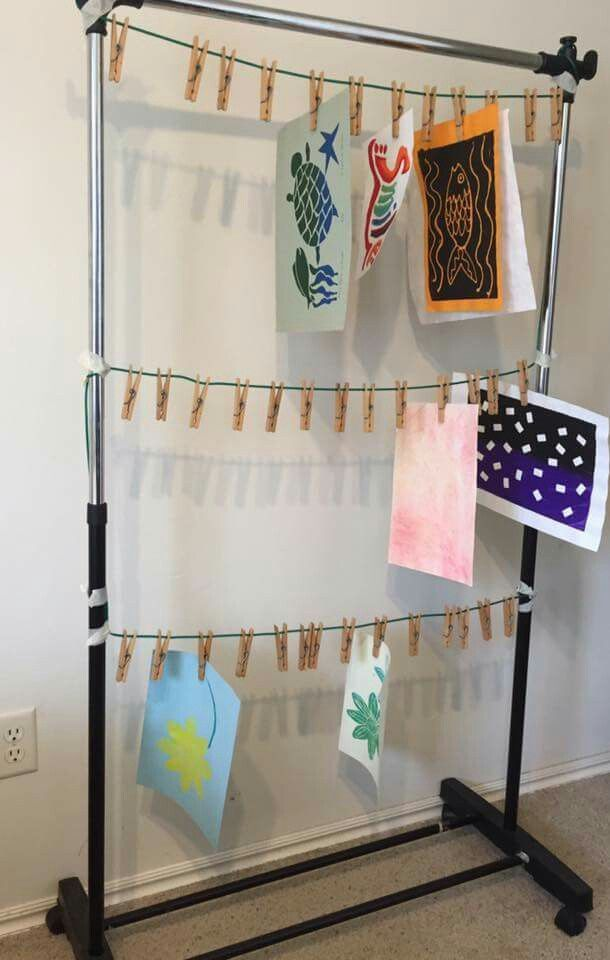Such a great idea, a cheap clothing rack turned into an art drying station