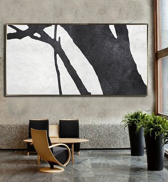 Horizontal Minimalist Art hand painted black and white art minimal painting  on canvas by CZ Art Design Perfect choice for modern and contemporary home.