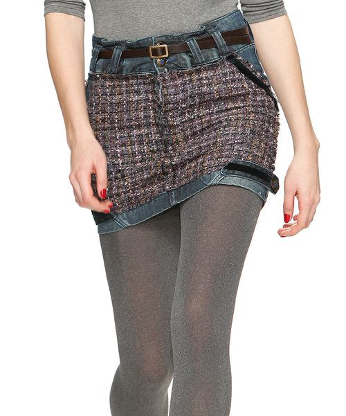 Revel in fashion filled with head-turning elements. This one-of-a-kind miniskirt combines a sophisticated woven knit with a laid-back denim construction.Includes miniskirt and beltShell: 100% cottonLining: 43% polyester / 30% acrylic / 18% wool / 9% otherHand wash; dry flat