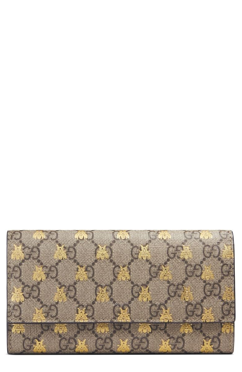 5db8e14bbfc8 Free shipping and returns on Gucci Linea Bee GG Supreme Continental Wallet  at Nordstrom.com