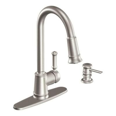 moen pull down kitchen faucet subway tile for update