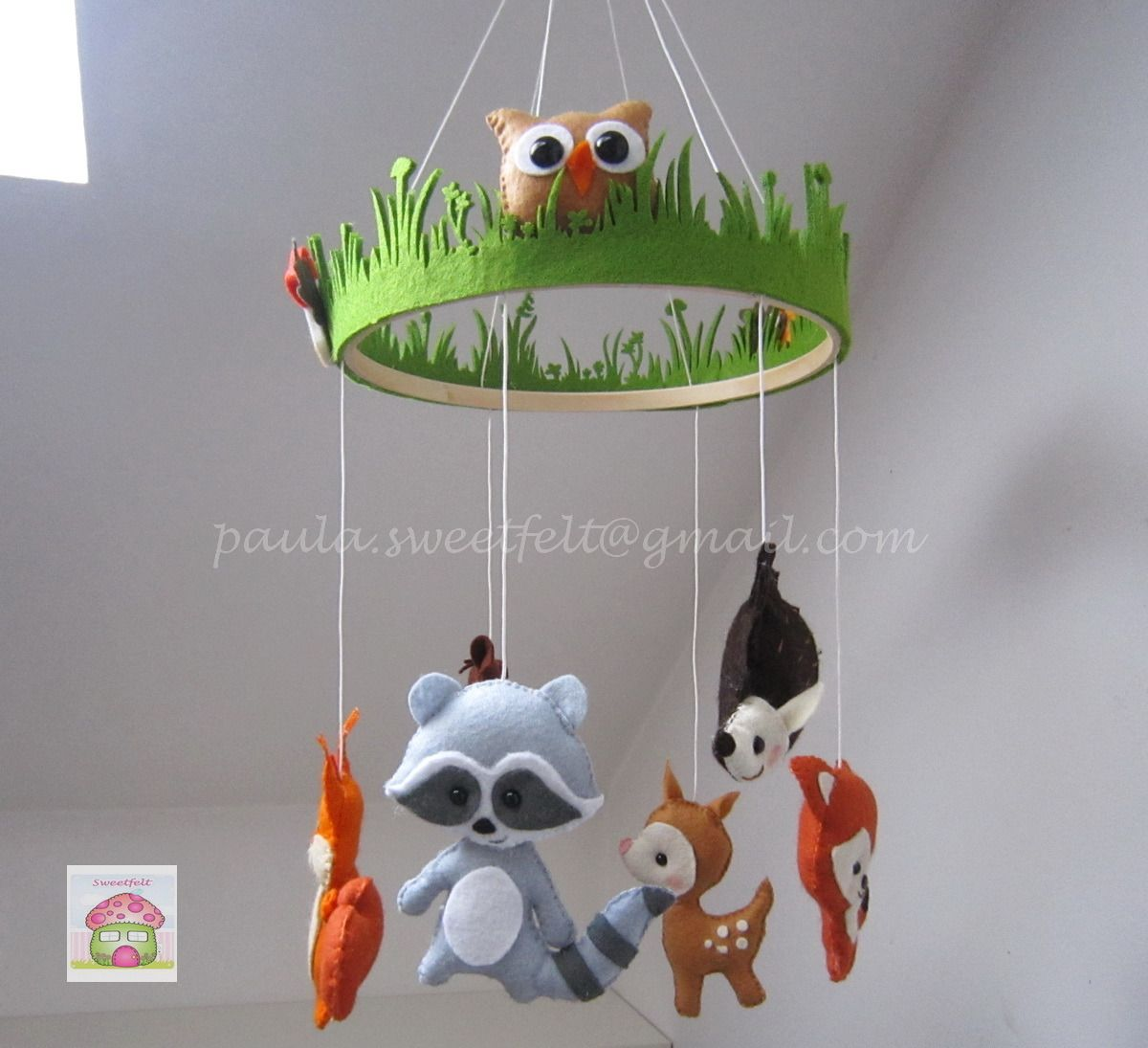 mobile animaux de la for t pour b b jeux peluches doudous par sweetfelt felt craft. Black Bedroom Furniture Sets. Home Design Ideas
